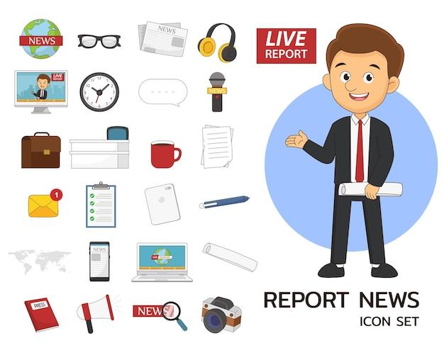 Reportar ícones lisos de conceito de conjunto de notícias