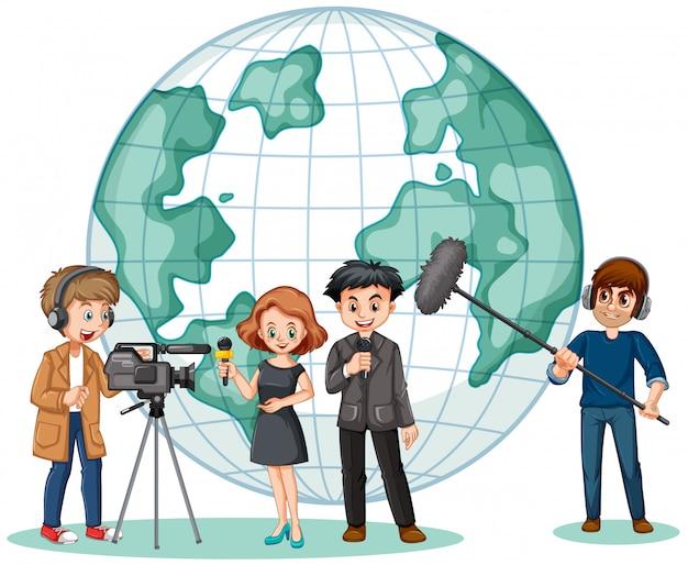 Repórter de notícias e fotógrafo com globo