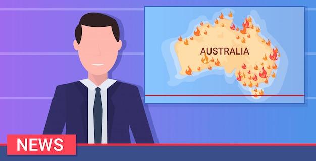 Repórter de notícias jornalista repórter ao vivo radiodifusão australiana incêndios florestais aquecimento global desastre natural rezar pela austrália mapa conceitual com chamas alaranjadas retrato horizontalmente