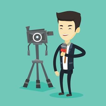 Repórter de tv com microfone e câmera.