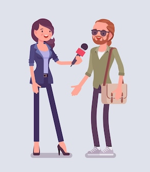 Repórter de tv feminina entrevistando perguntas