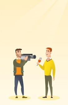 Repórter e operador de tv