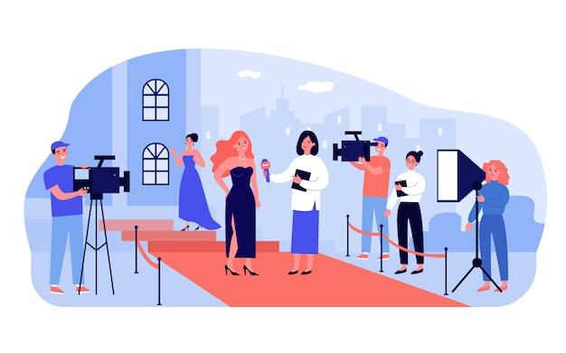 Repórter entrevistando celebridade famosa