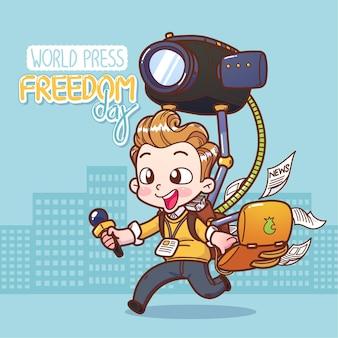 Repórter masculino do dia mundial da liberdade de imprensa