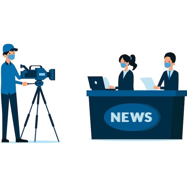 Repórteres mascarados relatam a notícia no estúdio
