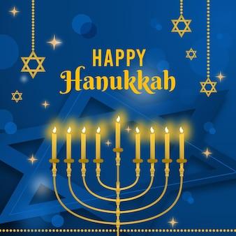 Representação do evento hanukkah azul e dourado
