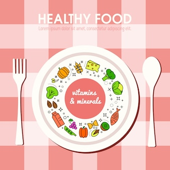 Representação do fundo do alimento de healty. ícones de frutas e legumes