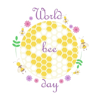 Representação do planeta em forma de favo de mel com abelhas e plantas.