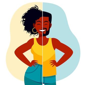 Representação transgênero de design plano ilustrada