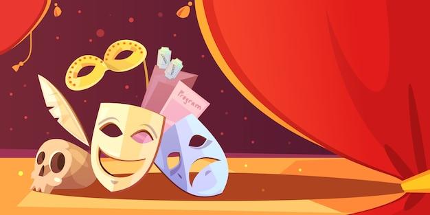 Representando, teatro, adereços, máscara, cranio