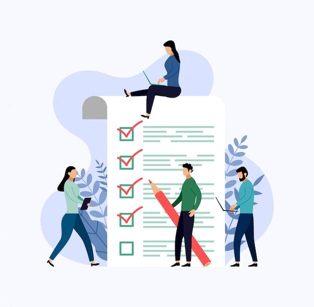 Representante da pesquisa, lista de verificação, questionário, empresa