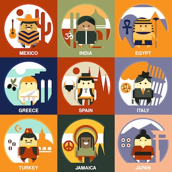 Representantes de diferentes nacionalidades estilo simples conjunto de ilustração