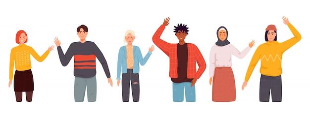 Representantes de diferentes nações, acenando com a mão. homens, mulheres em roupas casuais dizem olá.
