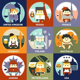 Representantes de nacionalidades diferentes estilo plano conjunto de ilustração