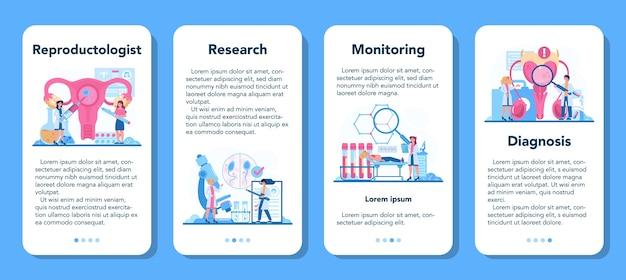 Reprodutologista e conjunto de modelo de aplicativo móvel de saúde reprodutiva.