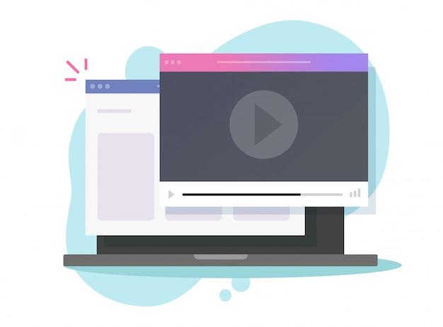 Reprodutor de vídeo on-line da internet na janela do site do computador laptop ou serviço de visualização de filmes no pc