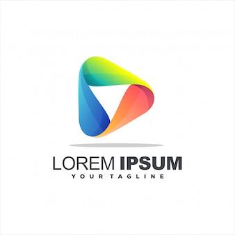 Reproduzir design de logotipo gradiente de mídia