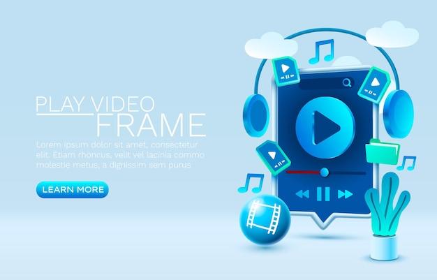 Reproduzir vídeo smartphone vetor de exibição de tecnologia de tela móvel