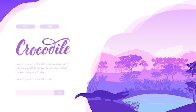 Réptil na paisagem minimalista da floresta tropical. banner plano da web para expedições de zoologia com espaço de texto