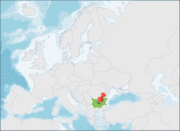 República da bulgária localização no mapa da europa