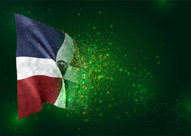 República dominicana, bandeira 3d em fundo verde com polígonos