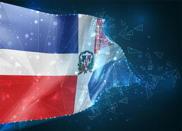 República dominicana, bandeira, objeto 3d abstrato virtual de polígonos triangulares em um fundo azul