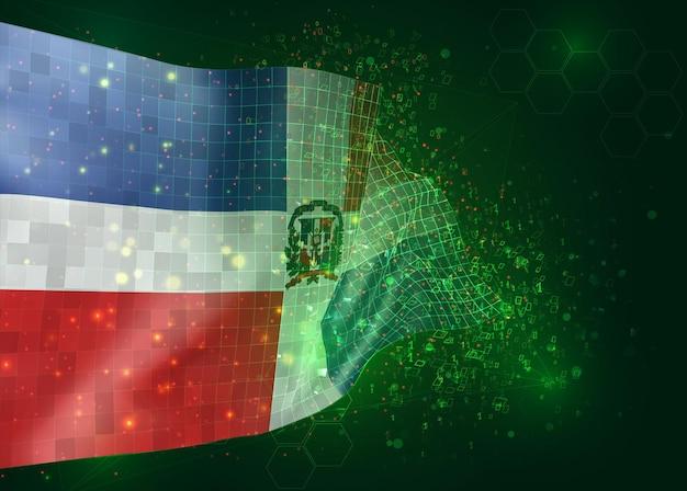 República dominicana, no vetor bandeira 3d sobre fundo verde com polígonos e números de dados