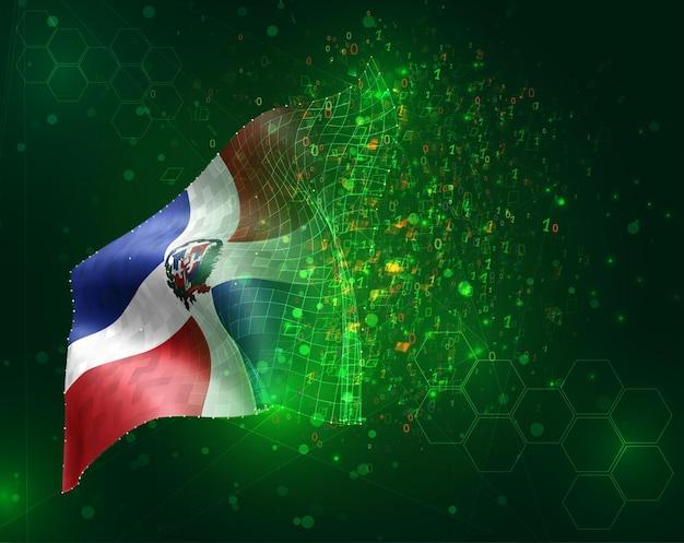 República dominicana, vetor bandeira 3d em fundo verde com polígonos e números de dados