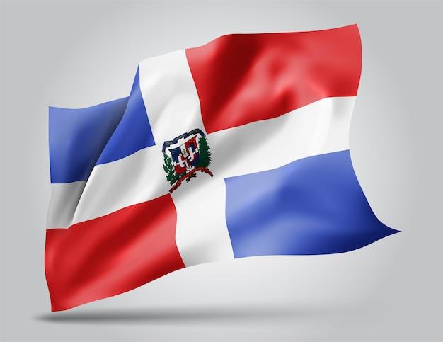 República dominicana, vetor bandeira com ondas e curvas balançando ao vento em um fundo branco.