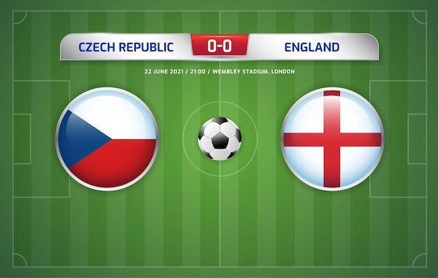 República tcheca x inglaterra transmissão do placar de futebol 2020 grupos d Vetor Premium