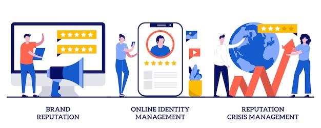 Reputação de marca, gerenciamento de identidade online, ilustração de gerenciamento de crise de reputação com pessoas minúsculas