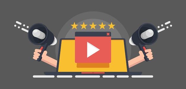 Reputação do cinema, banner de classificação de vídeo, botão play em fundo vermelho