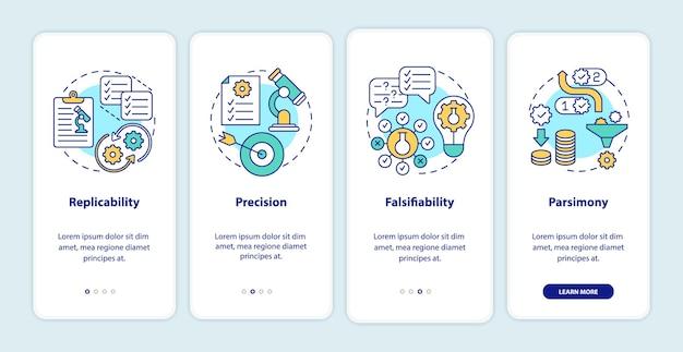 Requisitos de método científico integrando a tela da página do aplicativo móvel com conceitos. teorias e observações percorrem instruções gráficas de 4 etapas. modelo de interface do usuário com ilustrações coloridas rgb