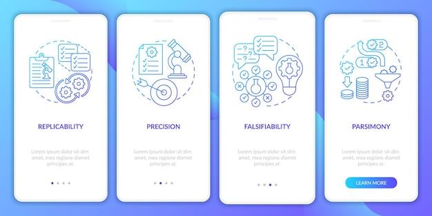 Requisitos de método científico integrando conceitos de tela de página de aplicativo móvel. reputability walkthrough 4 etapas instruções gráficas. modelo de interface do usuário com ilustrações coloridas rgb
