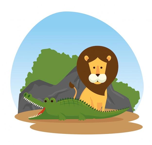 Reserva de animais selvagens de leão e crocodilo