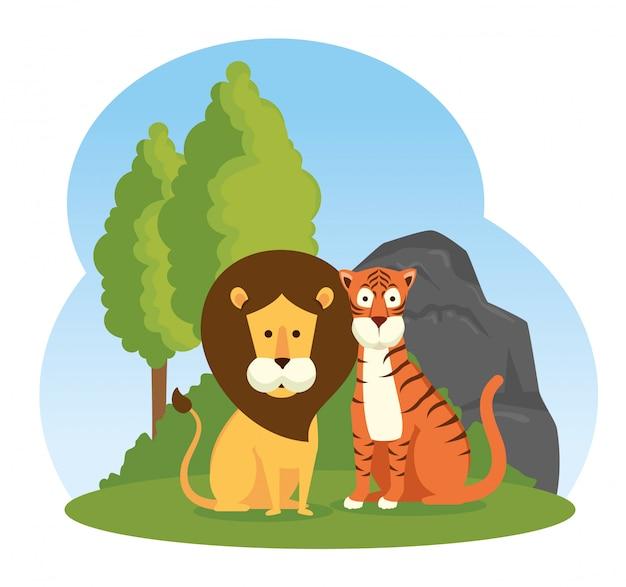 Reserva de animais selvagens de leão e tigre