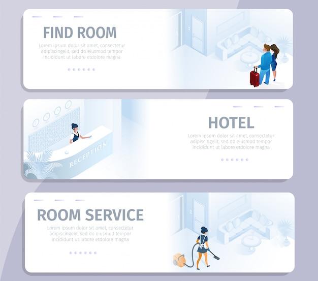 Reserva de hotéis encontre o serviço de limpeza de quartos banners