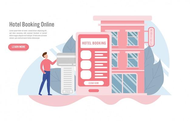 Reserva de hotéis on-line e conceito de reserva