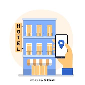 Reserva de hotel através do fundo do telefone móvel