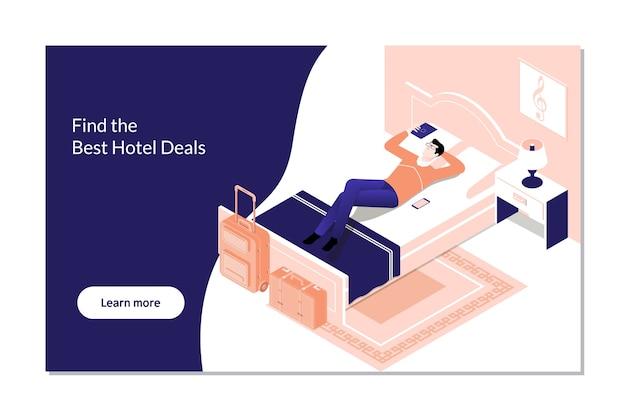 Reserva de hotel de reserva de homem na digital tablet