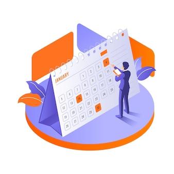 Reserva de nomeação isométrica com calendário