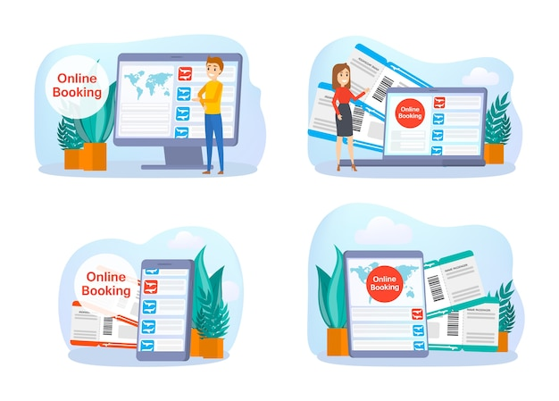 Reserva de passagens aéreas online no conjunto do dispositivo. conceito de voo e viagens. planejamento de férias de verão. ilustração em vetor plana isolada