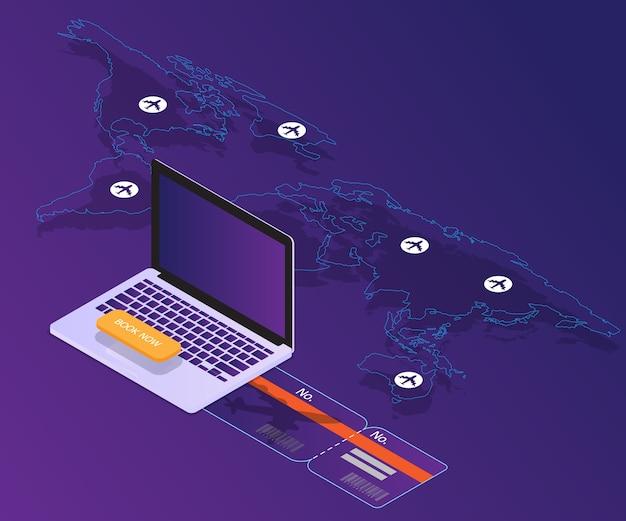 Reserva on-line conceito laptop com vetor de localização do mapa mundo isométrica