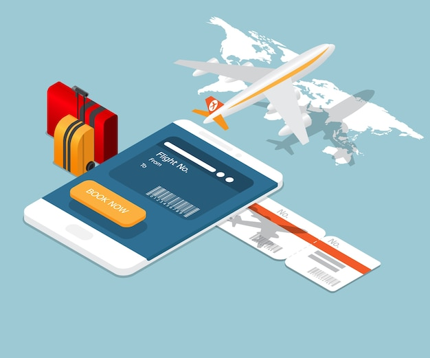 Reserva on-line de bilhetes de avião em smartphone