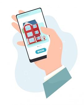 Reserva on-line de hotel, mão segura um smartphone. reserva de hotel, reserva on-line. conceito em estilo simples.