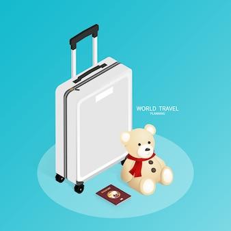 Reserva on-line isométrica, mapa do mundo de passaporte, vetor de viagens de plano de viagem