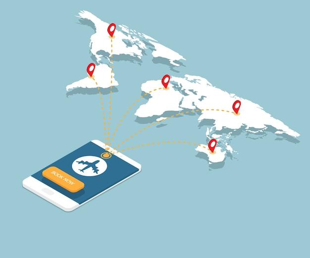 Reserva online em smartphone com rotas de voo de avião