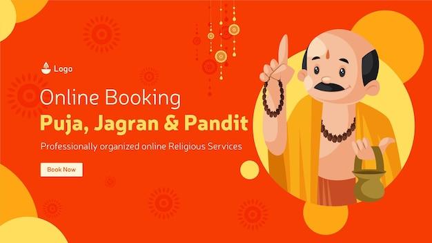 Reserva online para design de modelo de banner puja jagran e pandit