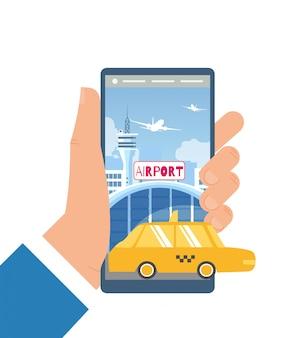 Reserva taxi car com mobile app flat vector