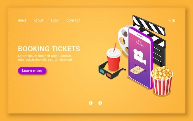 Reservar ingressos de cinema usando um aplicativo móvel. página de destino da reserva de ingressos